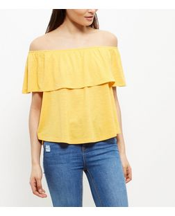 yellow-frill-trim-bardot-neck-top-